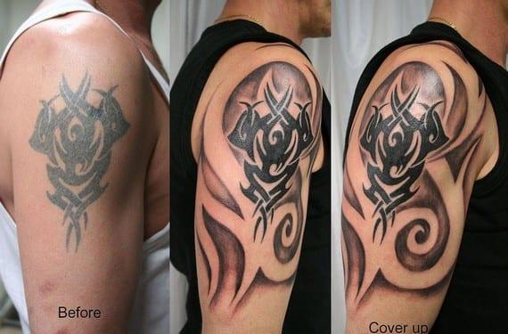 Algunos cover up simplemente consisten en repasar y ampliar el tatuaje anterior