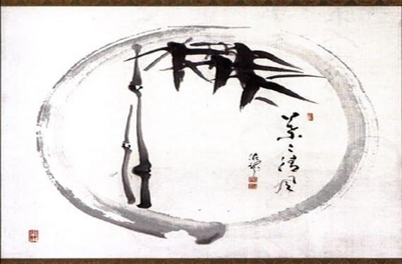 Ensō con bambú por Deiryu Kutsu