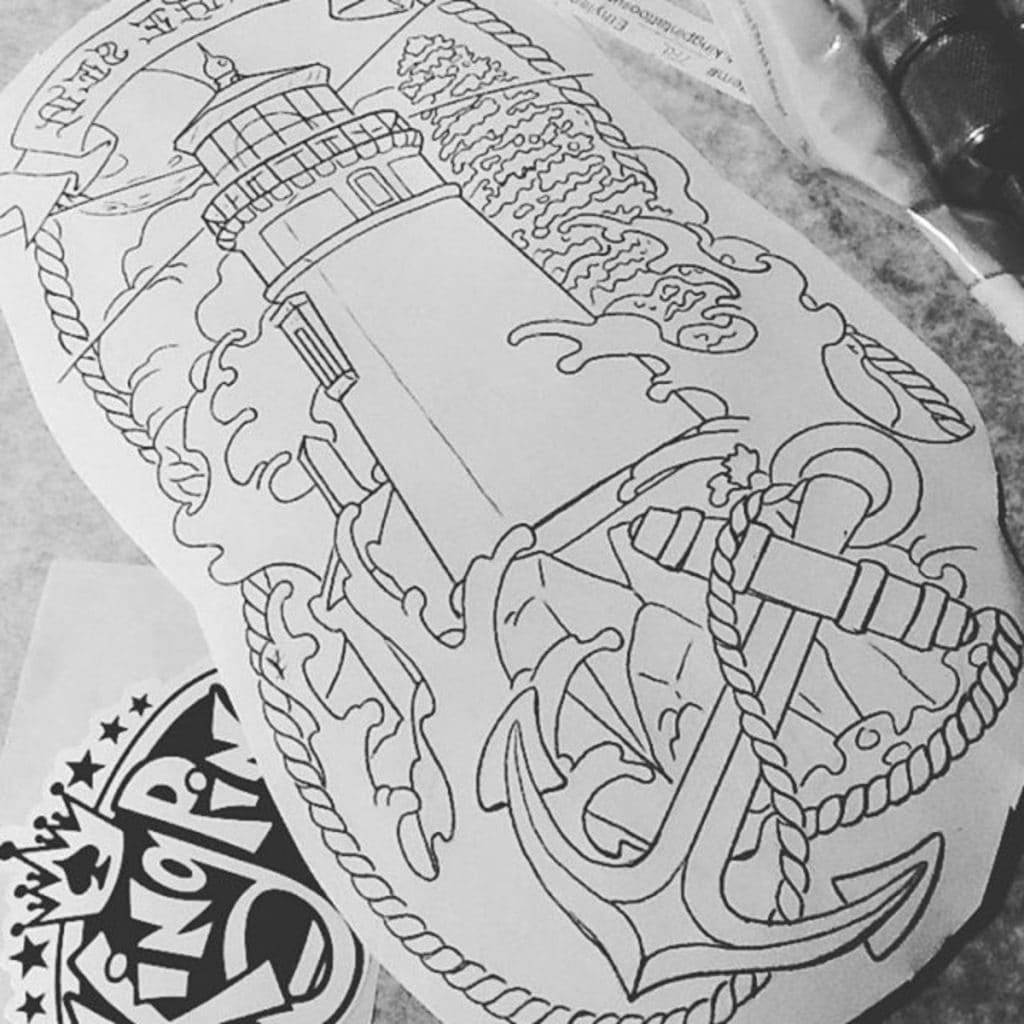 Diseño de tatuaje con una ancla