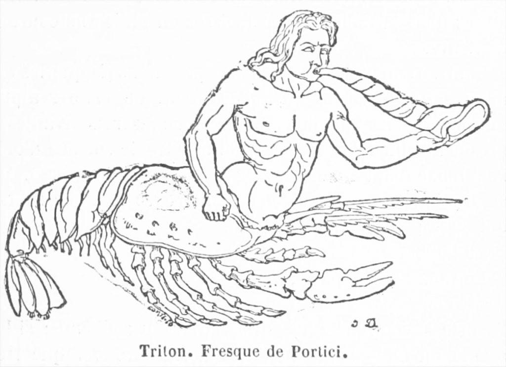 Tritón con piernas langosta.