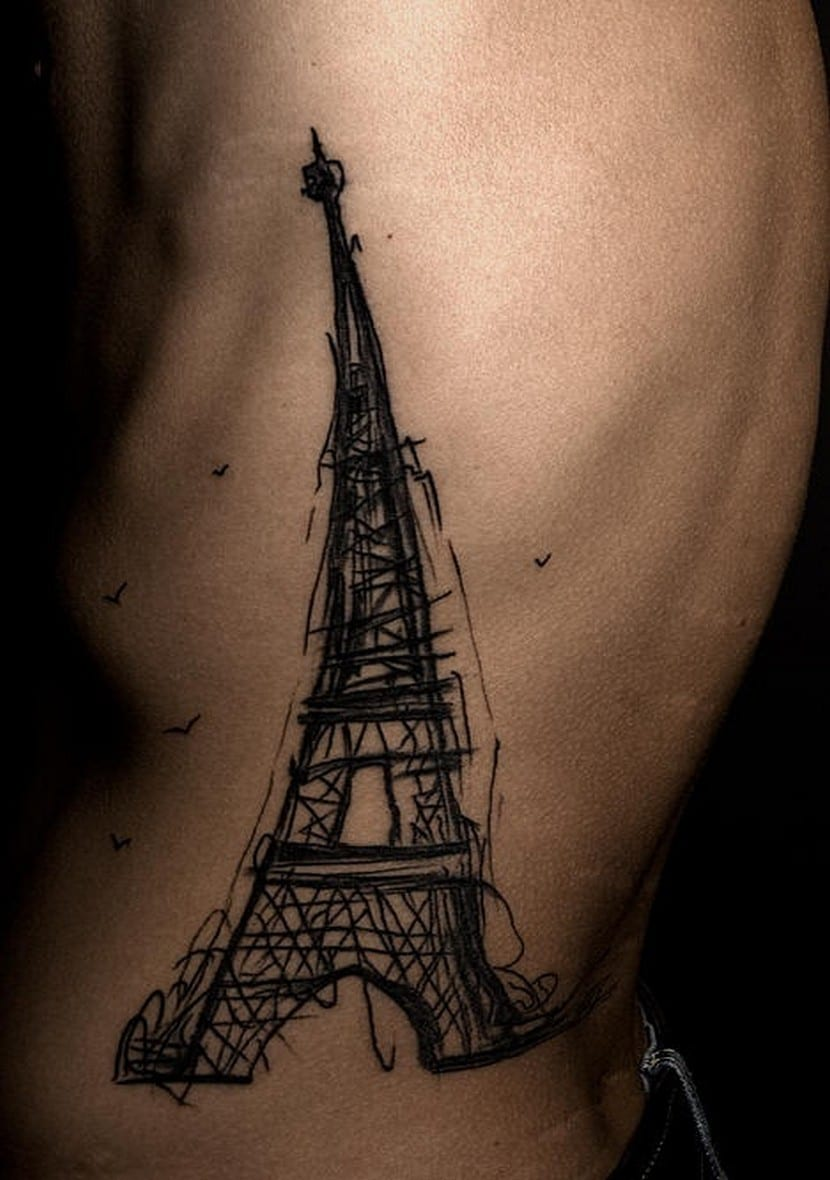 Eiffel tower sketch tattoo by Megan Tsang