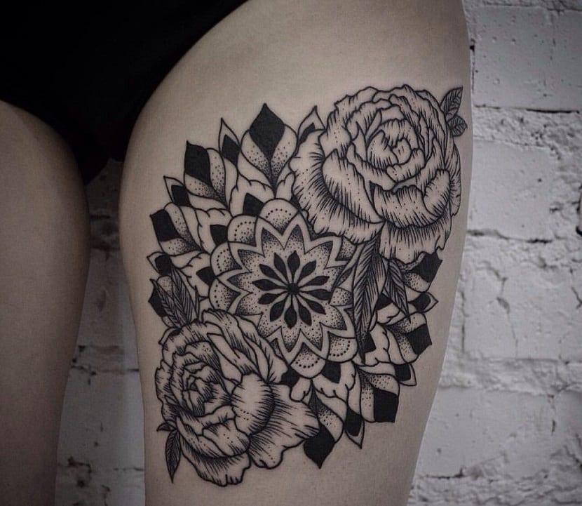 tatuaje de mandala pierna