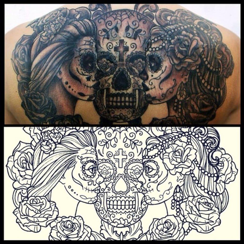 Tatuaje con calavera y dos catrinas