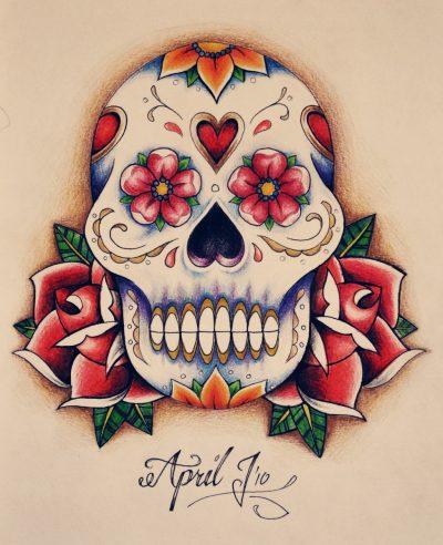 Diseño de tatuaje con calavera a color