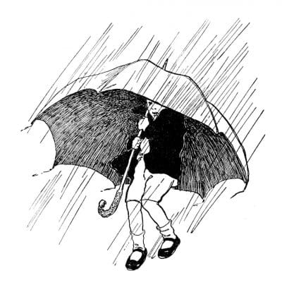 Ilustración de paraguas en blanco y negro