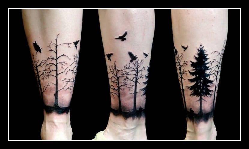 tatuaje naturaleza en brazos