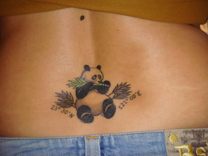 tatuaje de oso panda lumbar