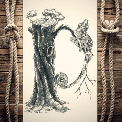 Ilustración de un camaleón en su medio natural