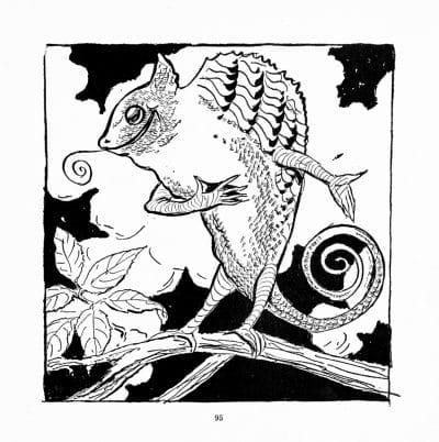 Ilustración infantil con camaleón muy mono
