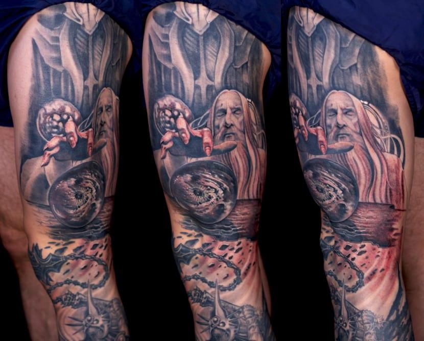 tatuaje pelicula anillos saruman