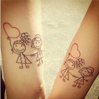 Los tatuajes infantiles con globos también se inspiran en dibujos