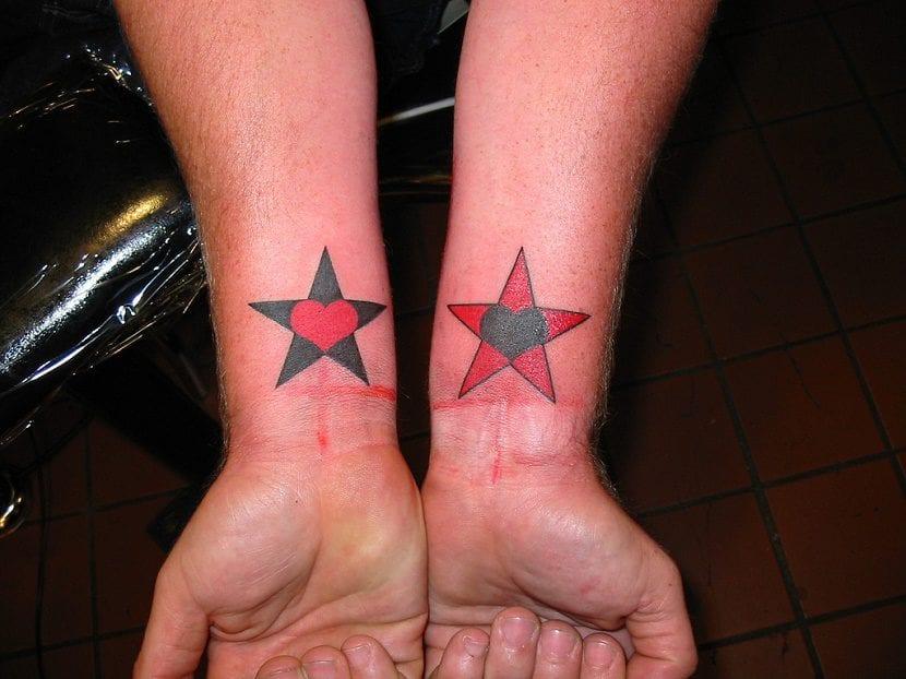 tatuaje corazon y estrella