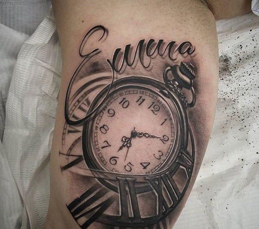 tatuajes relojes nombres pierna