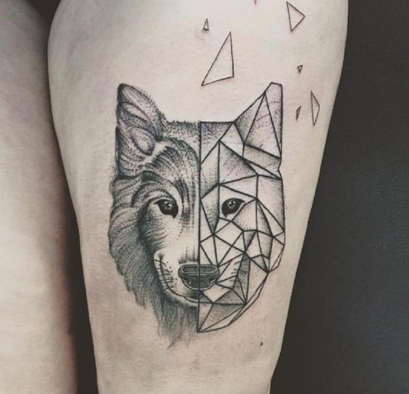 Tatuaje de lobo geométrico