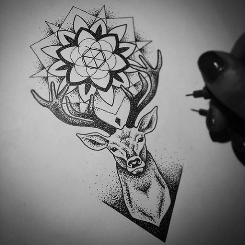 Tattoo dotwork ciervo