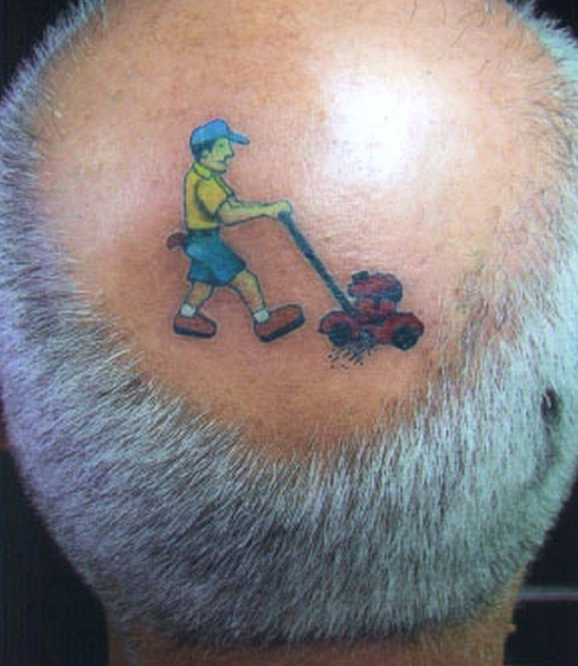 tatuaje divertido cortacesped cabeza