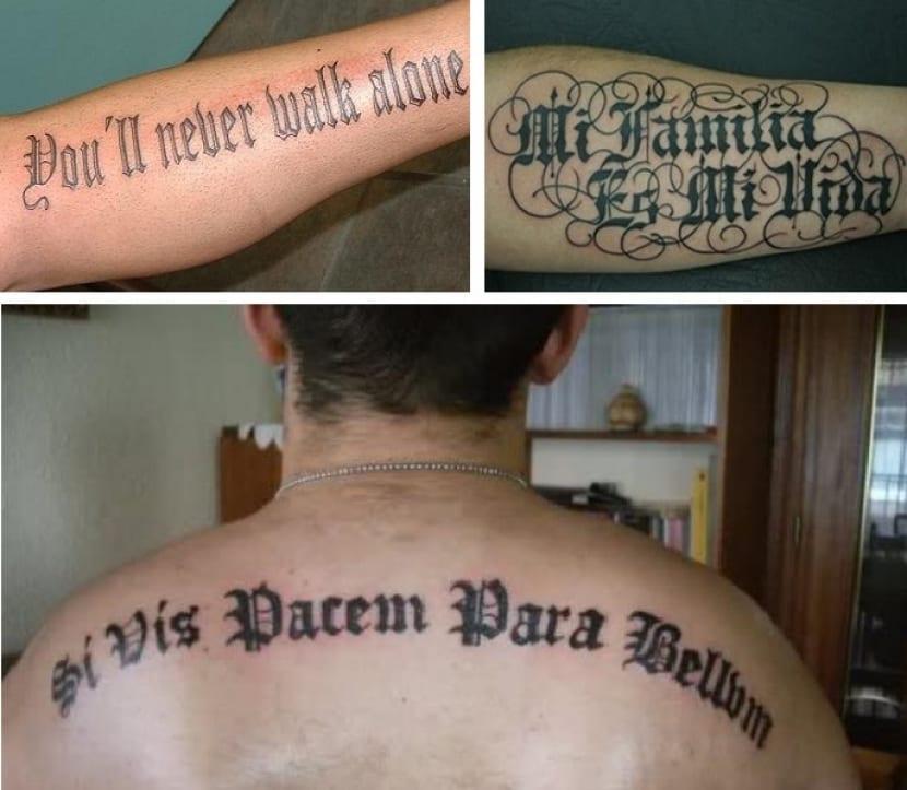 Frases en letras góticas