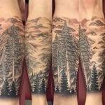 Tatuaje de paisaje de montaña