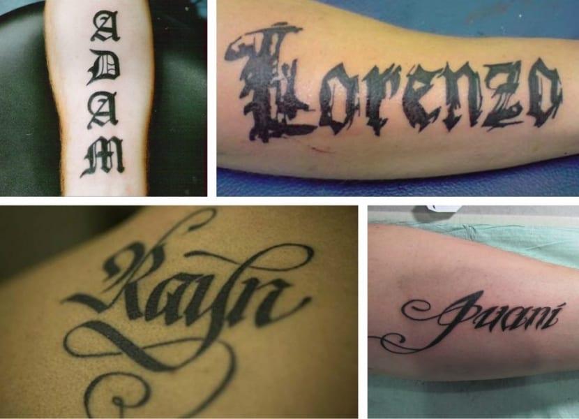 Nombres propios en letras góticas