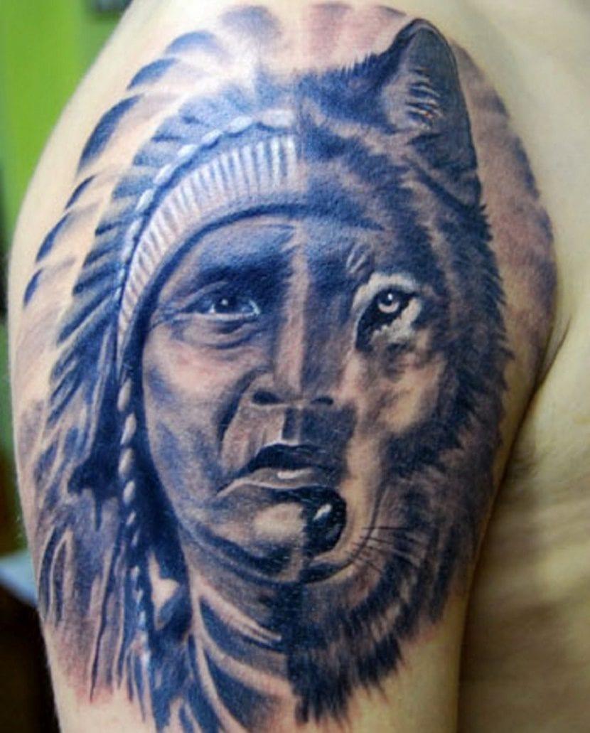 tatuaje de indios y lobo
