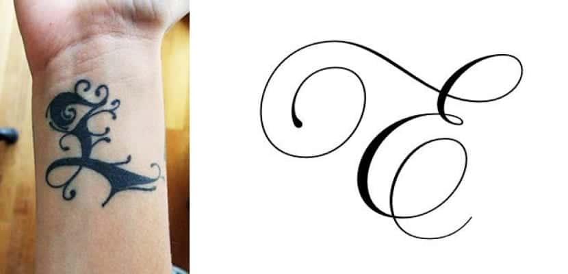 Letra e clásica para tatuajes