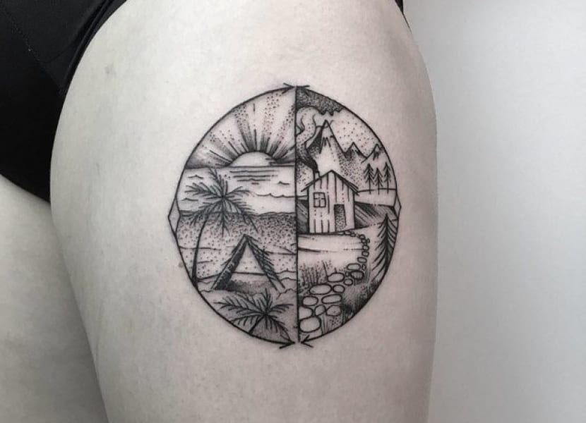 Tatuaje circular con paisaje
