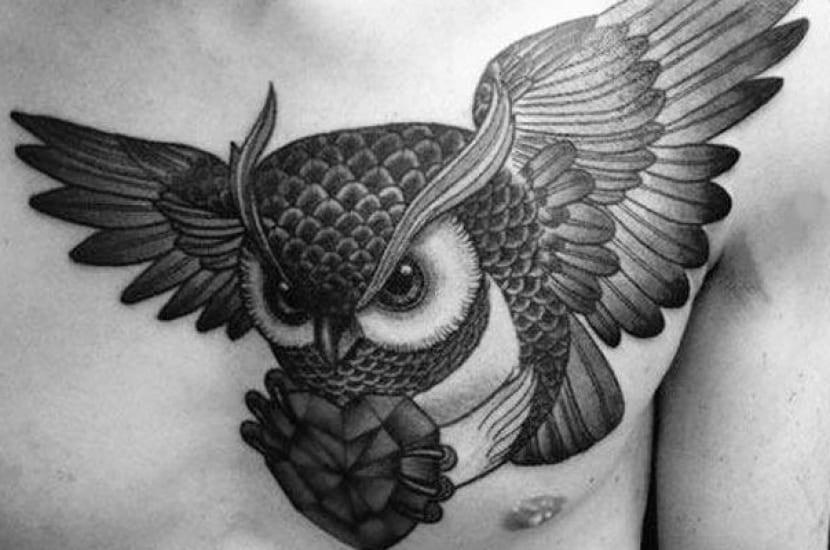 tatuaje búho con corazón