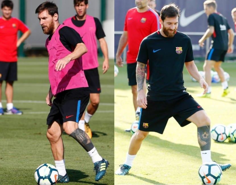 Tatuaje Leo Messi en la pierna