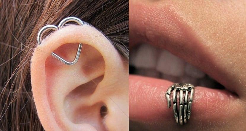 Piercing para oreja y labio