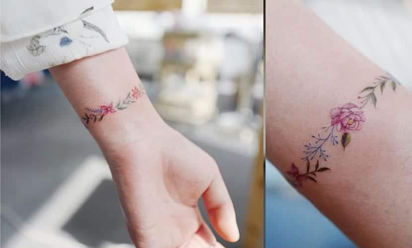 Tatuajes de brazaletes de flores: recopilación de diseños