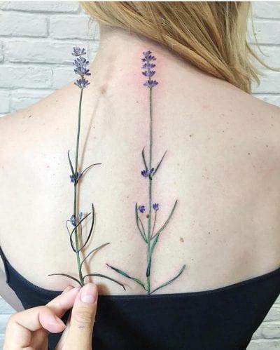Tatuaje largo lavanda