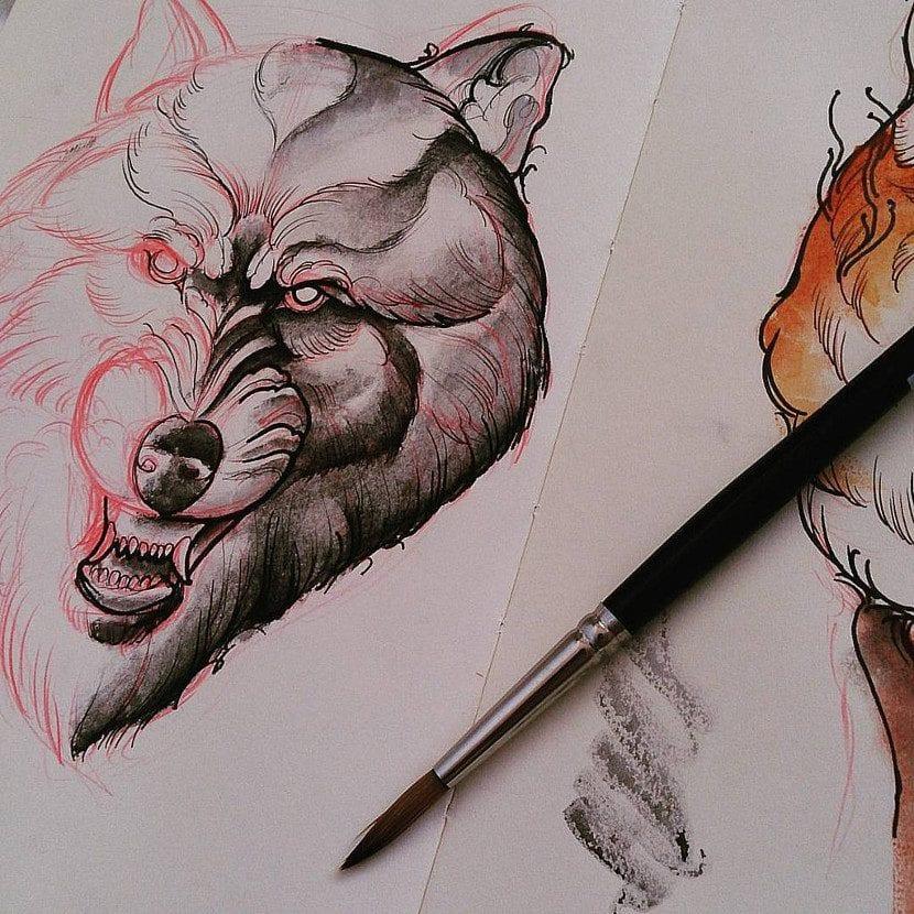 Diseño de tatuaje de lobo