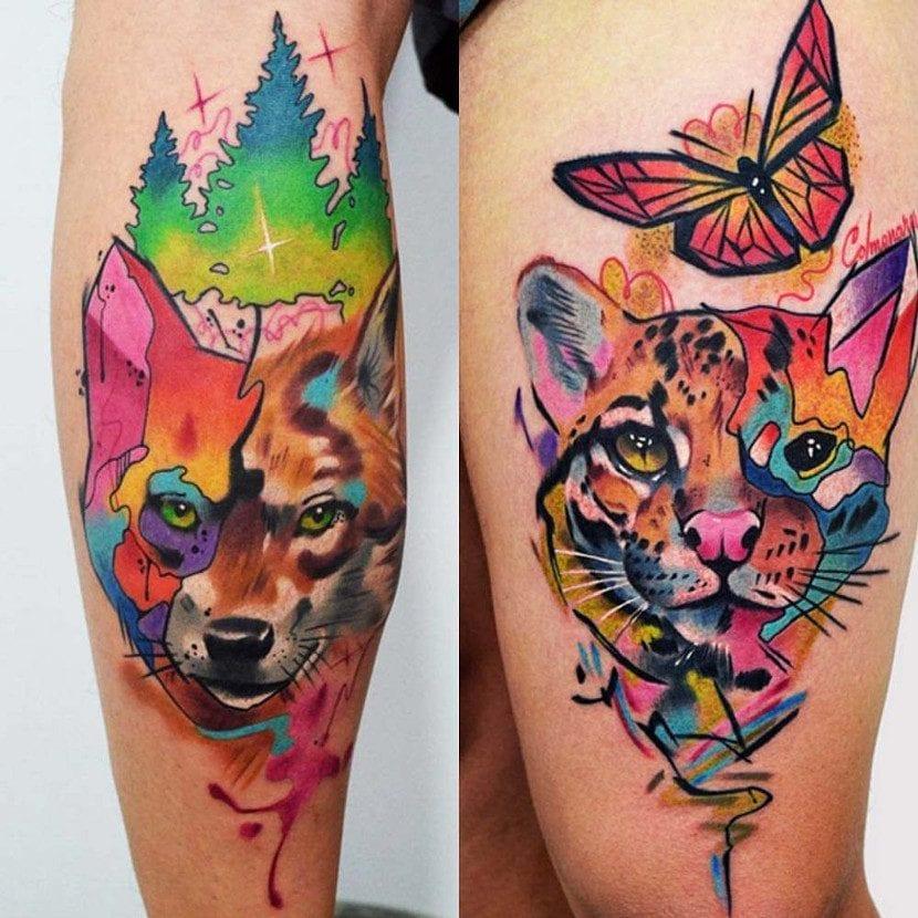 Tatuaje a color de zorro, gato montés y mariposa