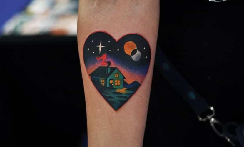 Tatuajes de paisajes nocturnos