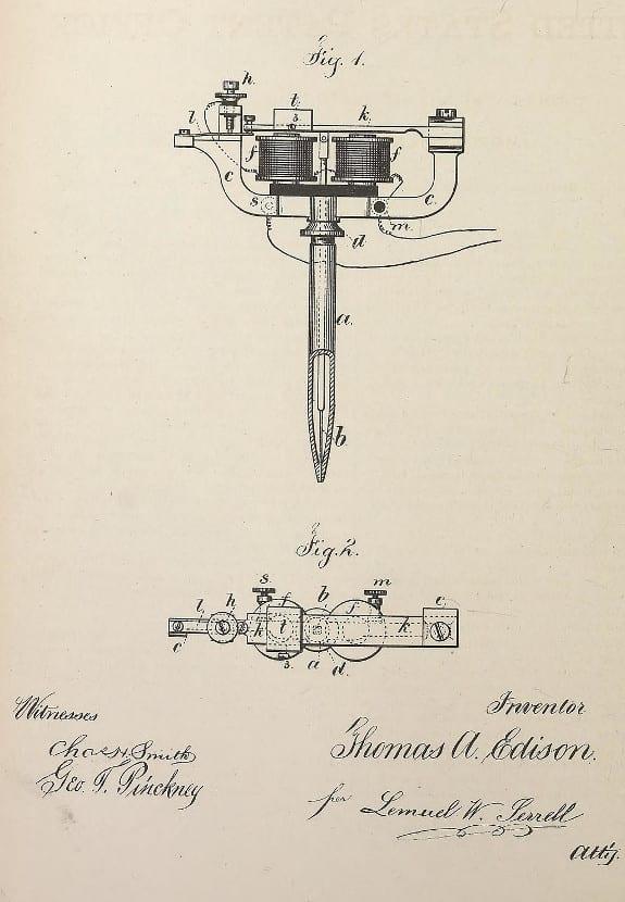 Patente bolígrafo eléctrico