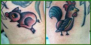 Tatuaje gallo cerdo