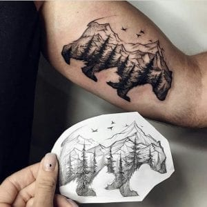 Tatuaje oso montaña