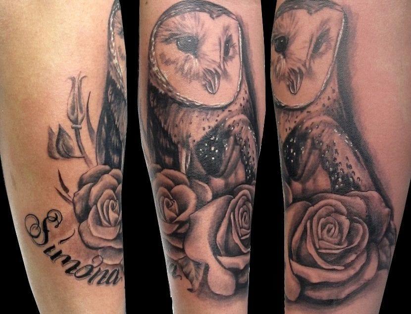 Tatuaje lechuza grande