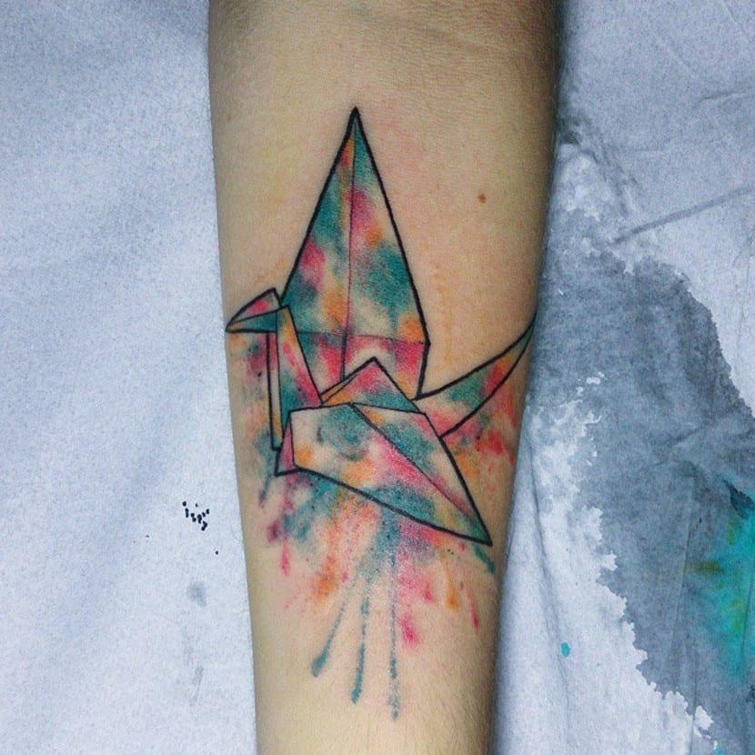 Tatuaje grulla color