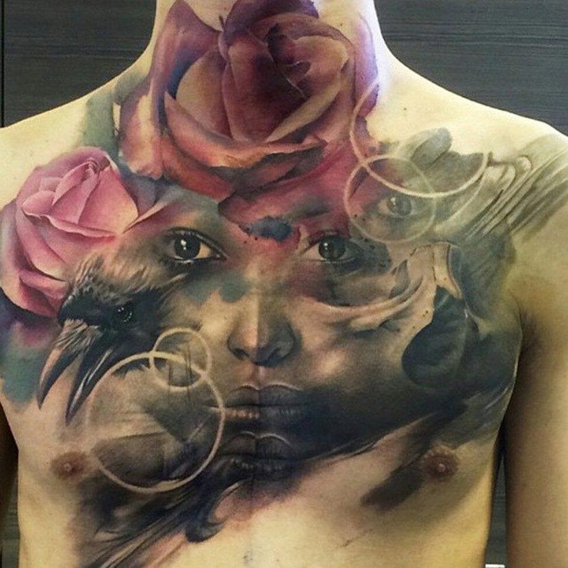 tatuaje rosa cuello pecho