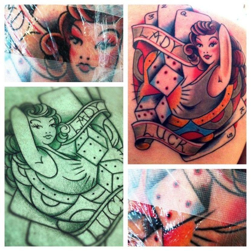 Tatuaje dados personificación suerte