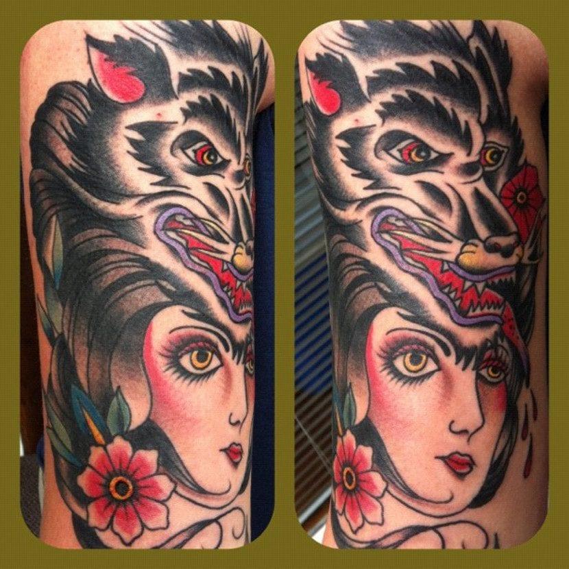 Tatuaje loba old style