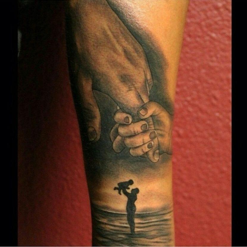 Tatuaje padres blanco y negro