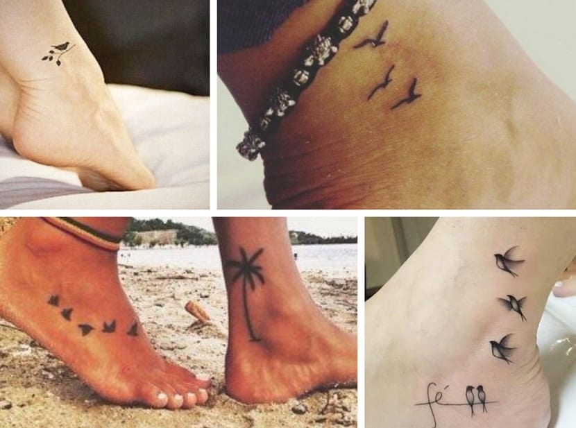 Tatuajes de pájaros en el pie