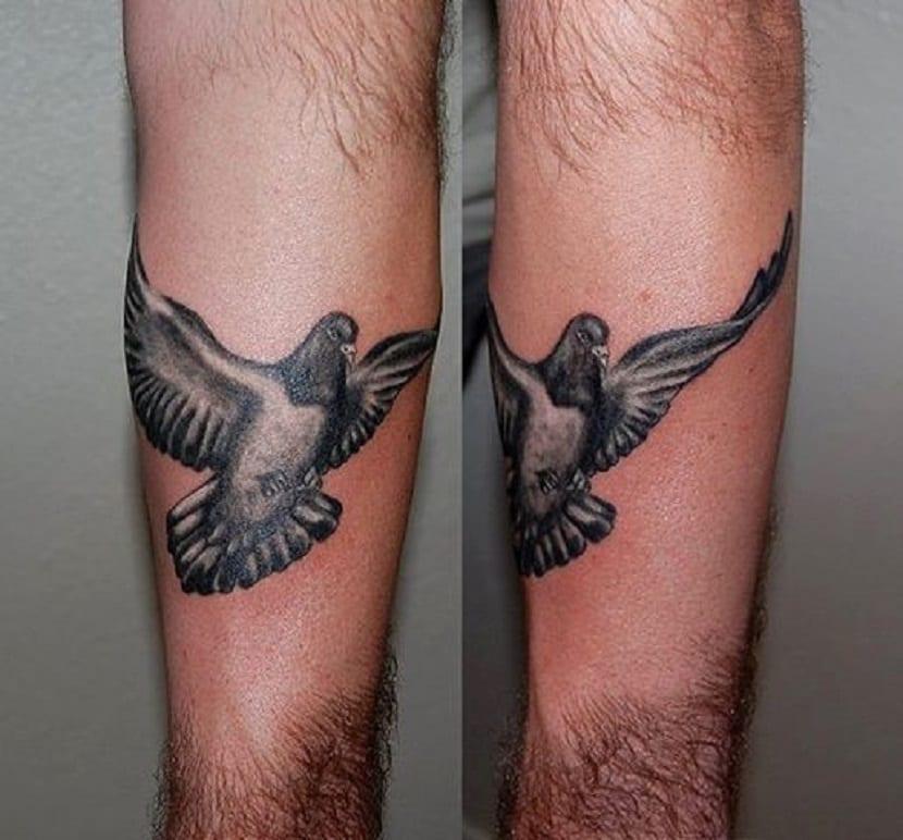 Tatuaje de paloma volando