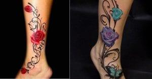 Tatuajes de enredaderas con rosas