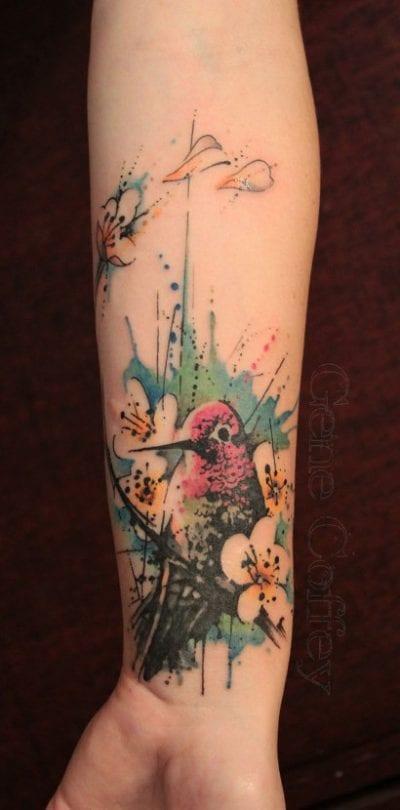 Tatuaje de aves, colibrí