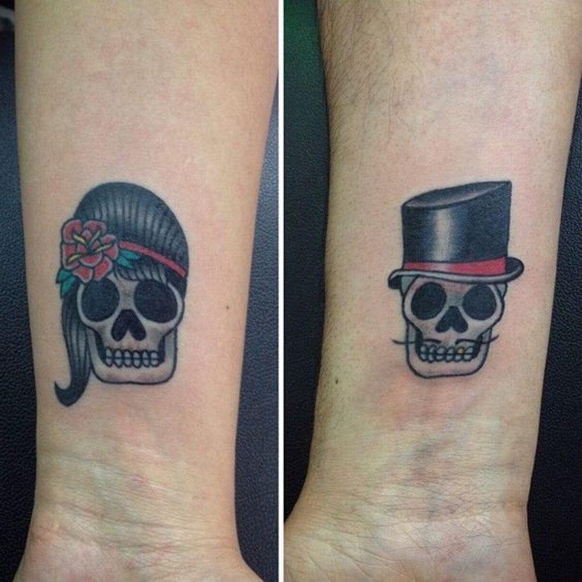 Tatuajes de calaveras para parejas tradicional