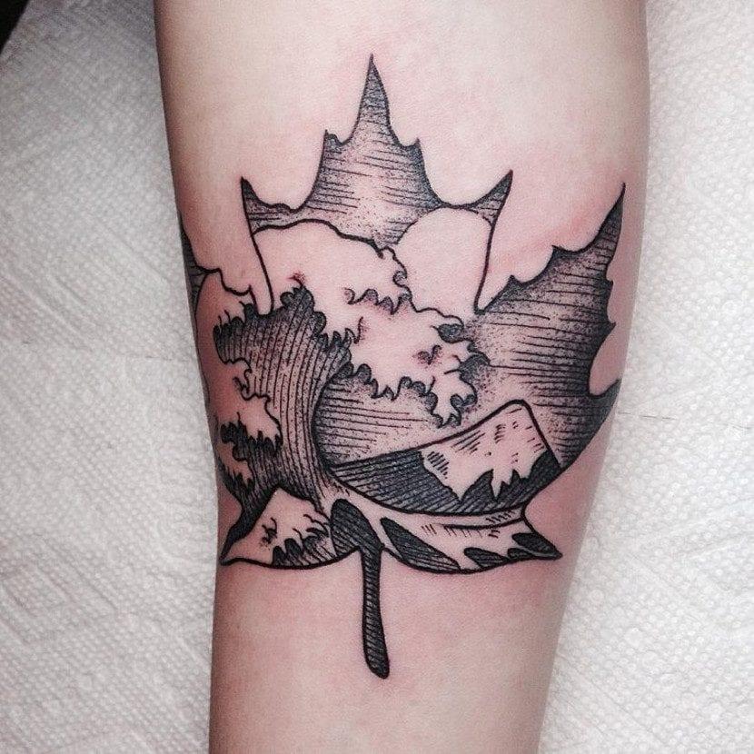 Tatuajes mar y montaña hoja