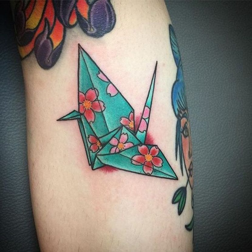 Tatuajes de origami grulla